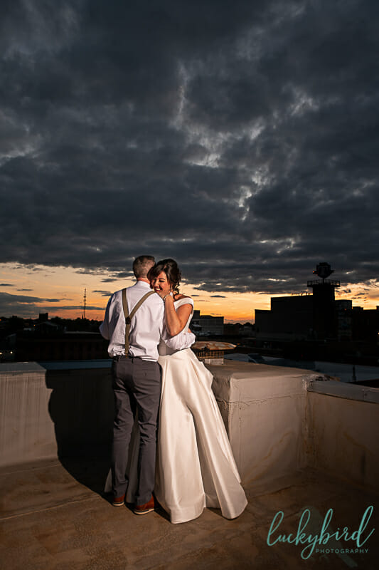 dancing during sunset at summit toledo wedding