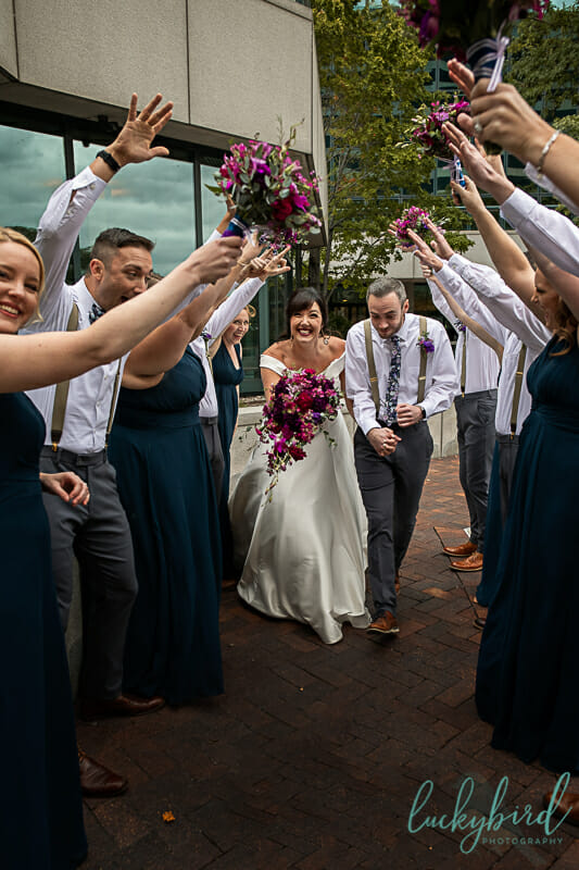 fun downtown toledo wedding party photo