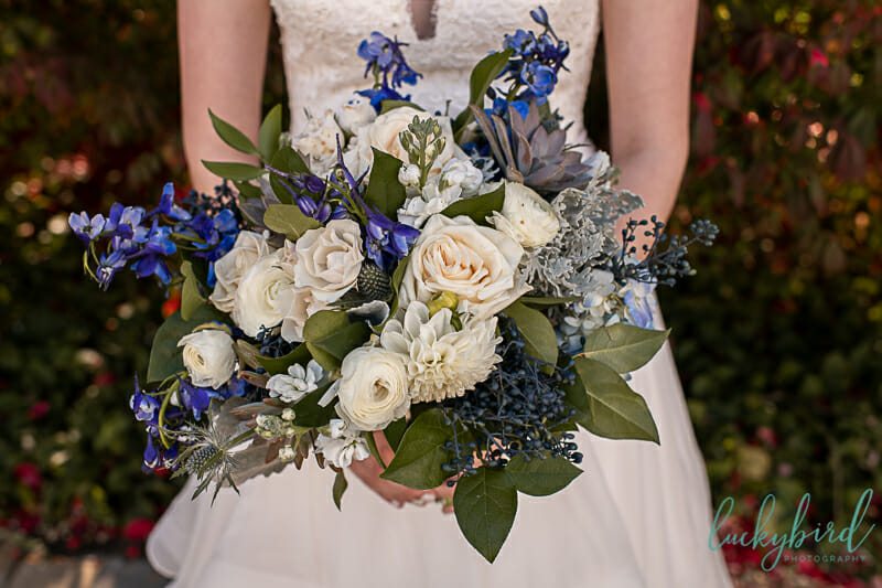 gardenview wedding bouquet blue white green
