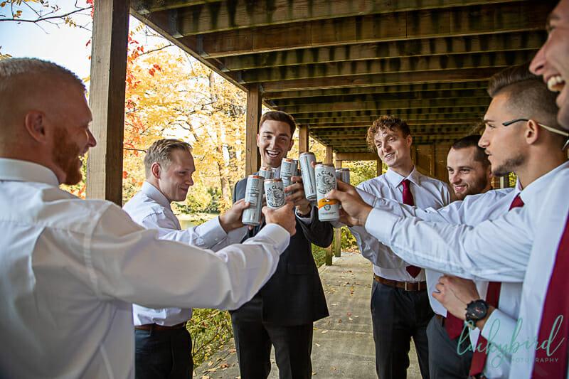 groomsmen cheers photo at schedel