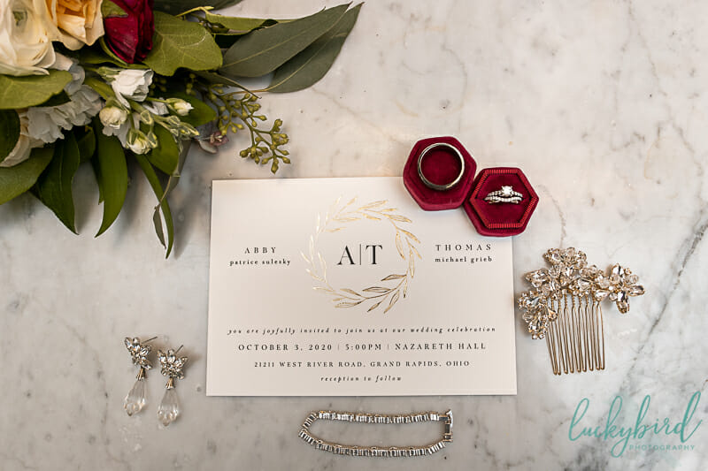 nazareth hall wedding details rings bouquet