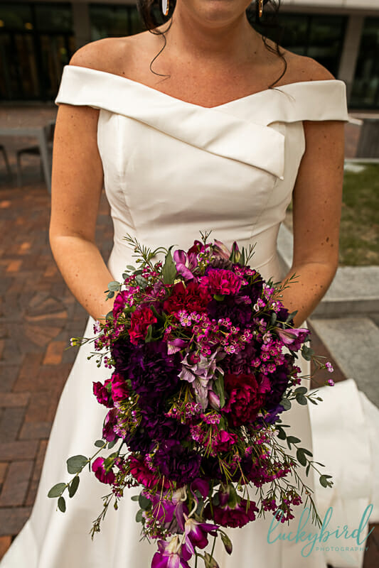 pink and purple cascade wedding bouquet toledo