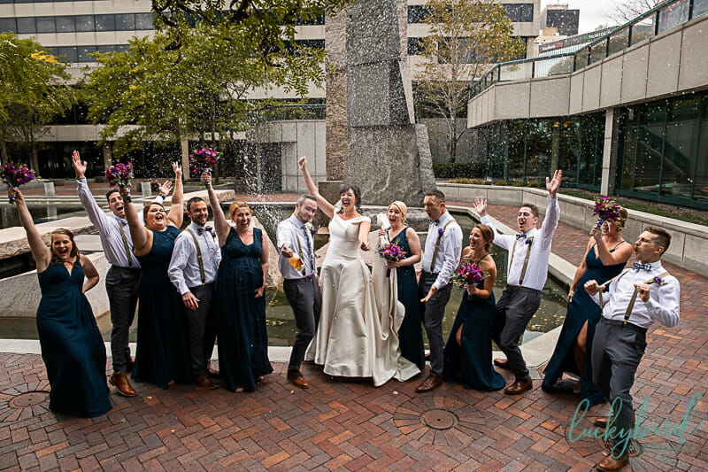 popping champagne toledo wedding photo