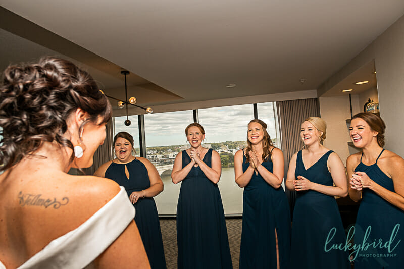 toledo bridesmaids first look photo renaissance hotel