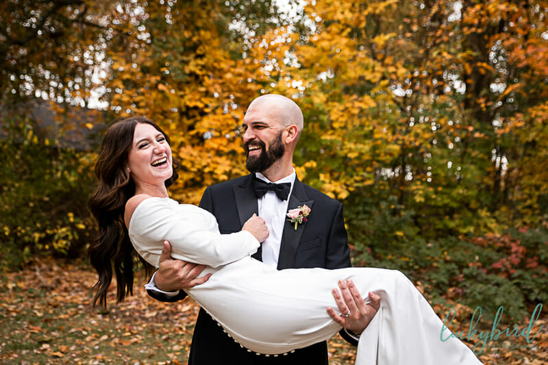 wedding ceremony at oak openings evergreen lake