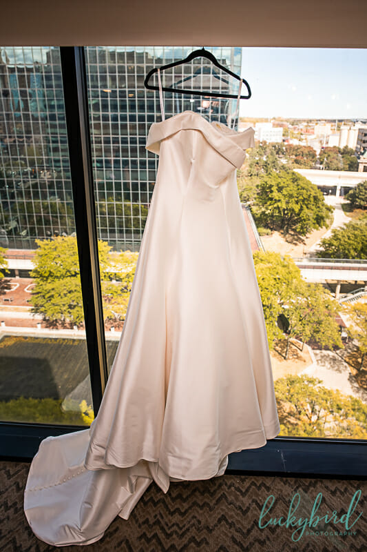 wedding dress hanging at renaissance hotel toledo