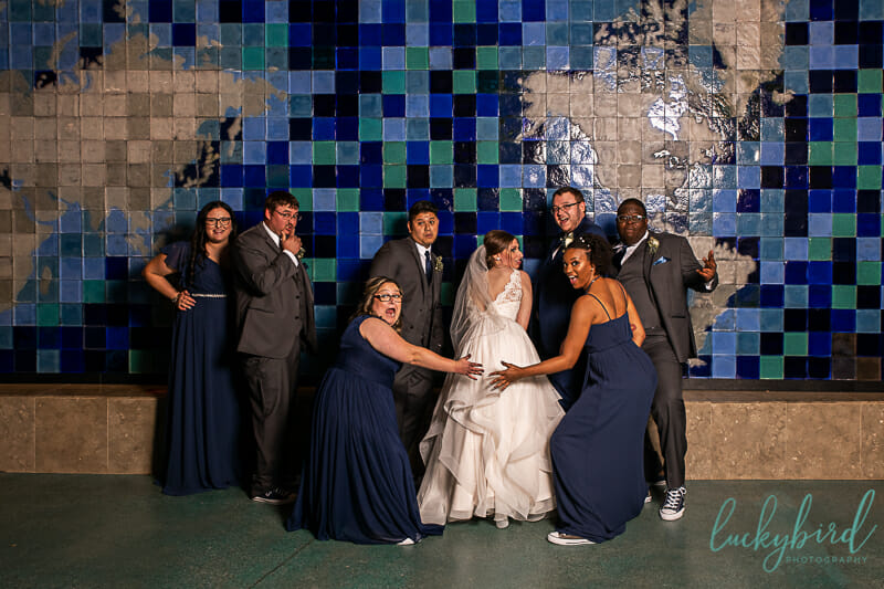 wedding party at toledo zoo aquarium wedding