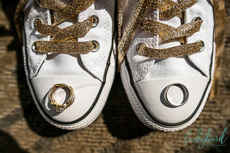 wedding rings on converse shoes