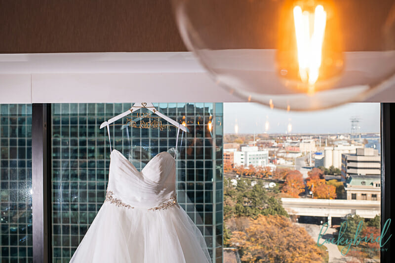 brides dress hanging renaissance hotel