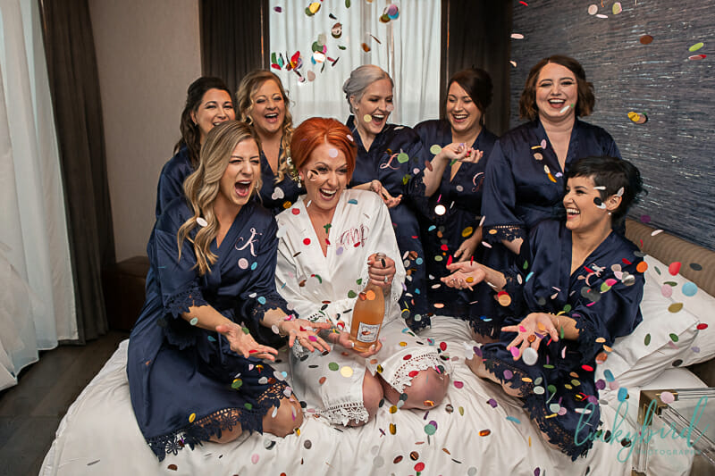 confetti throw with bridesmaids at renaissance hotel