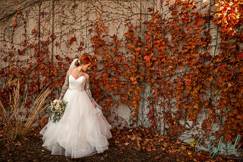 downtown toledo fall photo of bride with tattoos