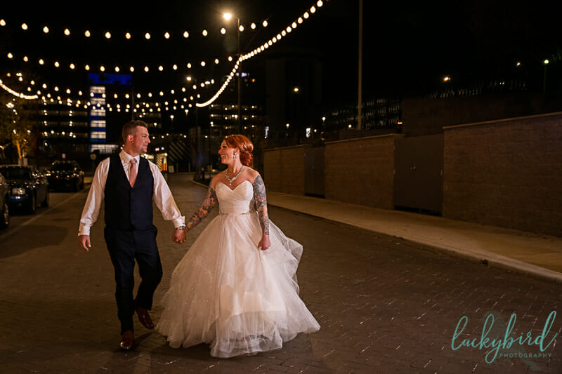 downtown toledo wedding photos at night at renaissance