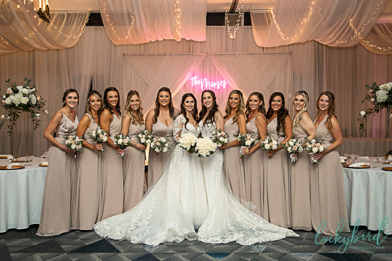 brides and bridesmaids during renaissance toledo wedding