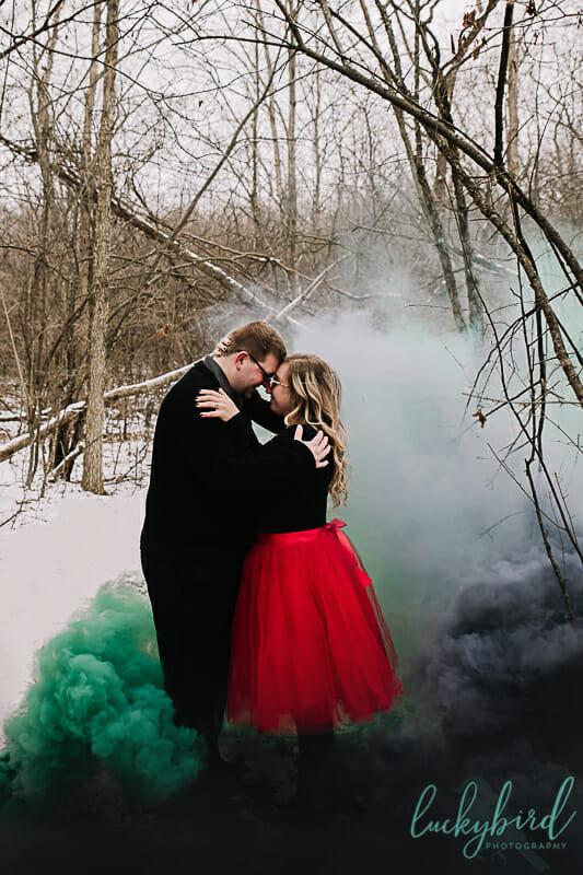 christmas smoke bomb engagement photos