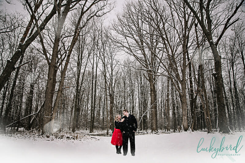 engagement session in the snow toledo