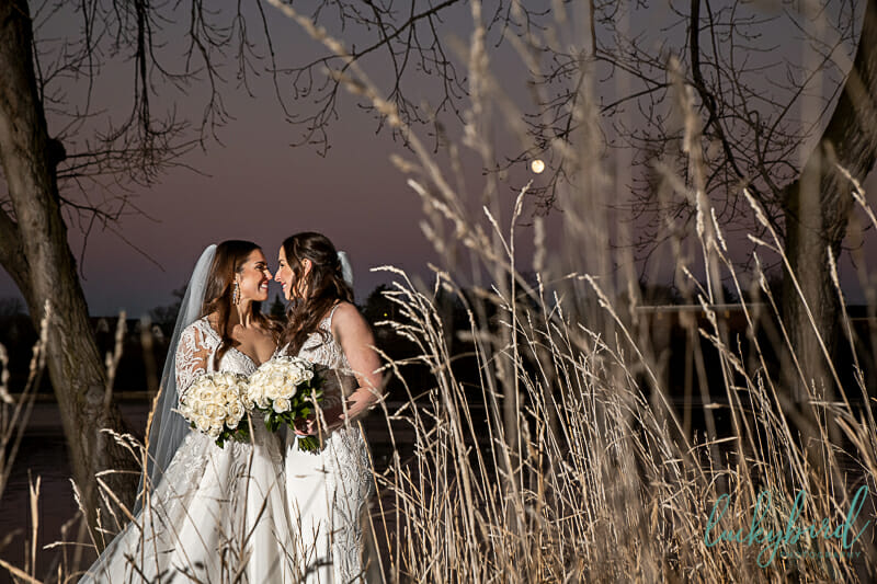 full moon wedding photos with lesbian couple
