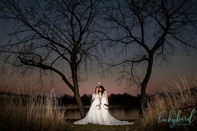 full moon wedding photos with same sex couple