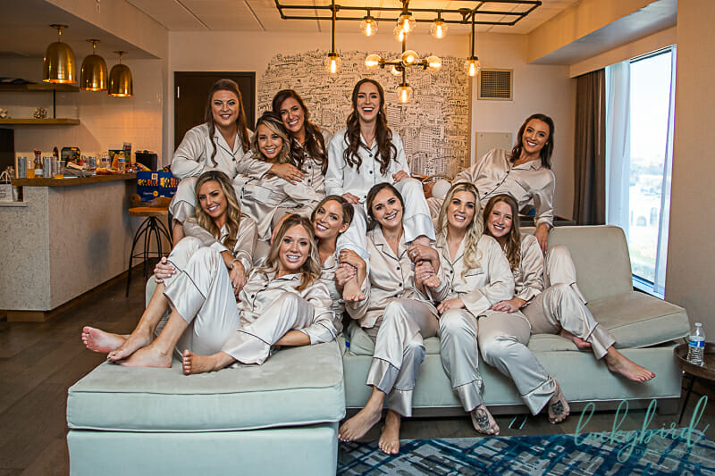 fun photo with bridesmaids at renaissance toledo