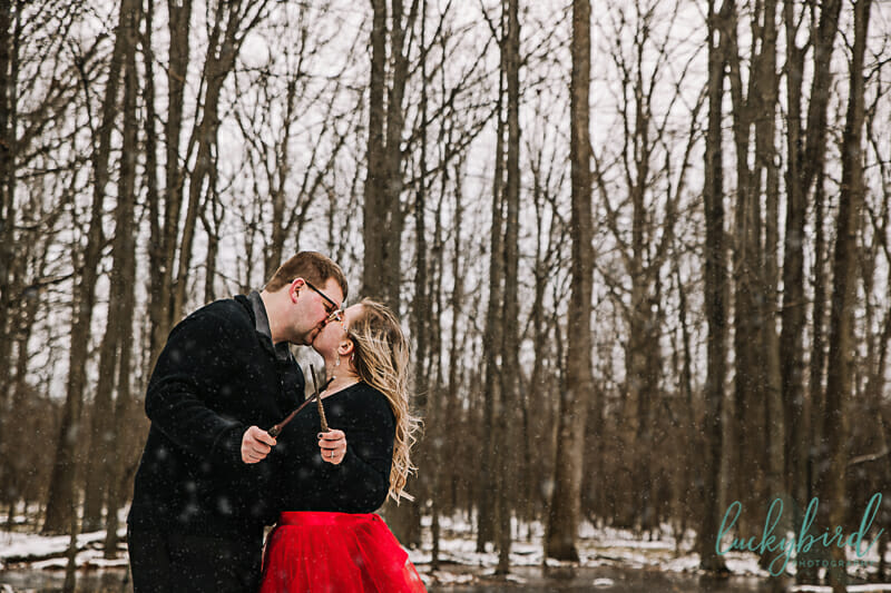 harry potter engagement session with wands