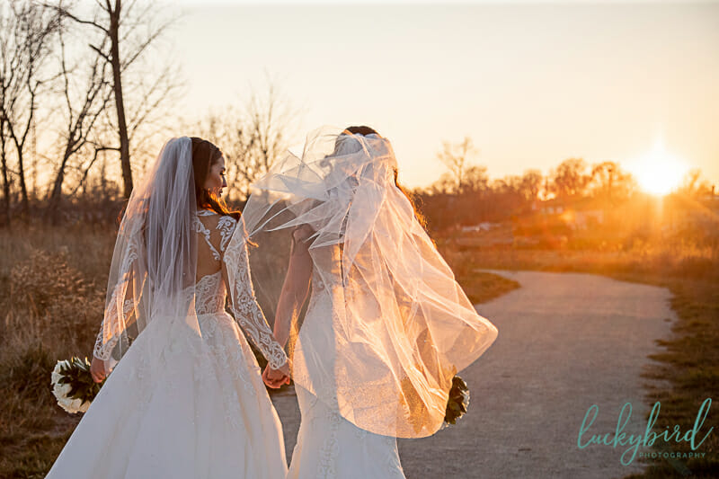 middlegrounds park wedding photos at sunset