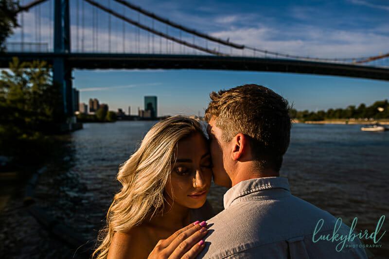 romantic engagement photos at middlegrounds park