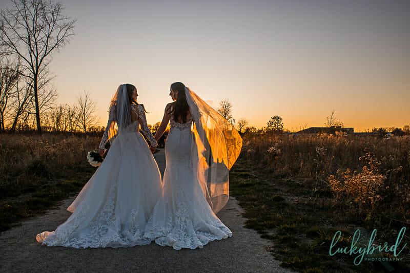 sunset wedding photos of lesbian couple