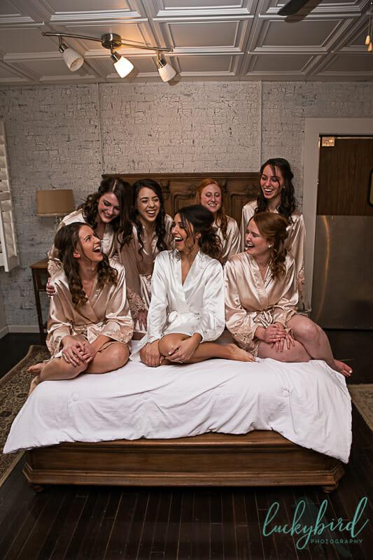 armory napoleon wedding photo with bridesmaids