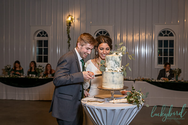 cake cutting at shady brook acres wedding