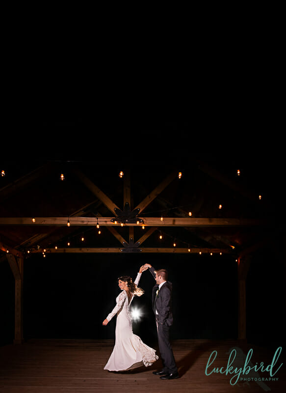 gazebo wedding photo at shady brook acres at night v