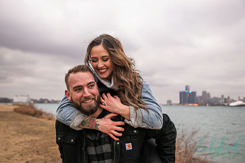 belle isle engagement photos during winter