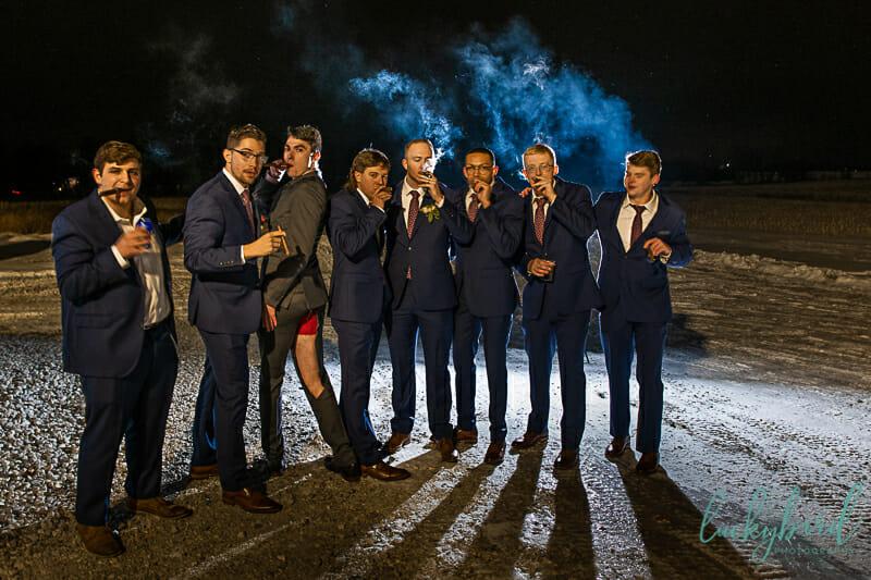 cigar photo at the barn at walnut creek wedding