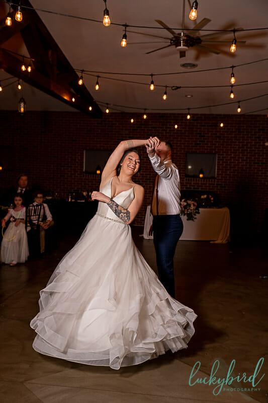 first dance at the barn at walnut creek wedding