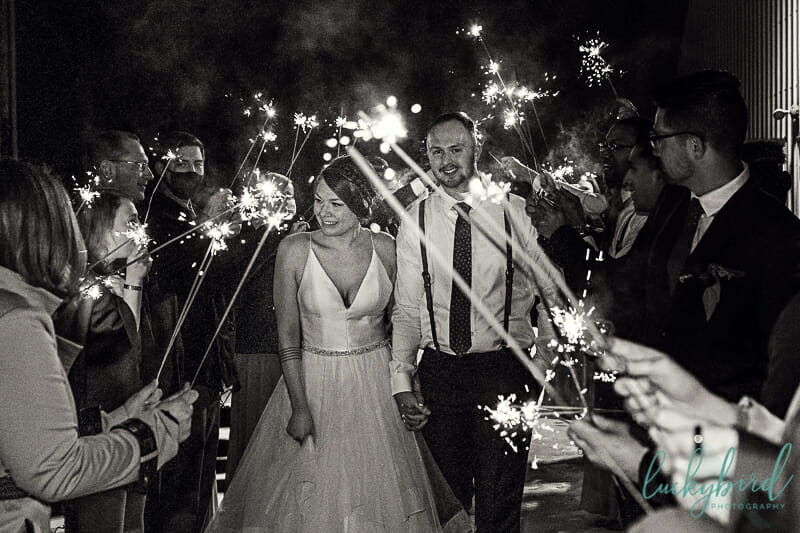 sparkler exit at the barn at walnut creek wedding