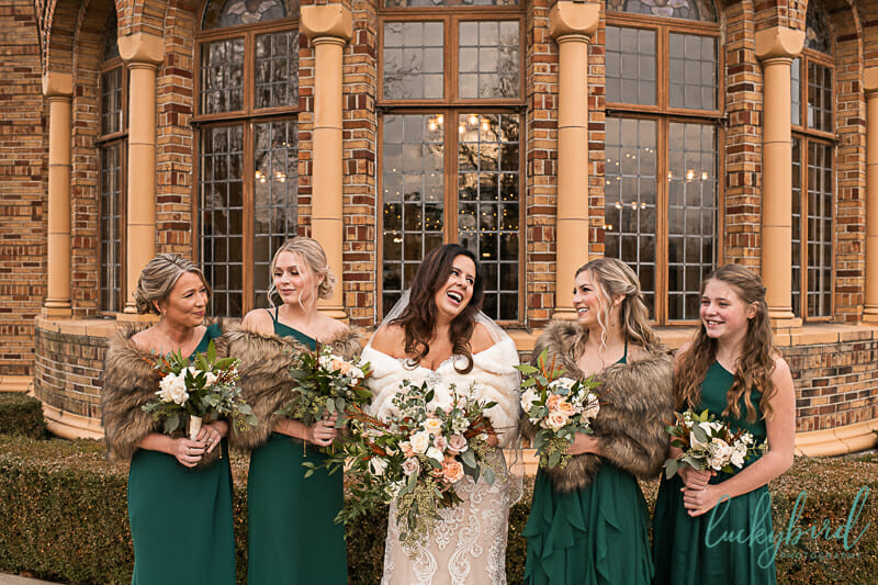 nazareth hall winter wedding with bridesmaids
