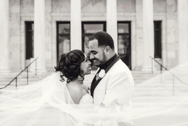 black couple at toledo museum of art wedding photos