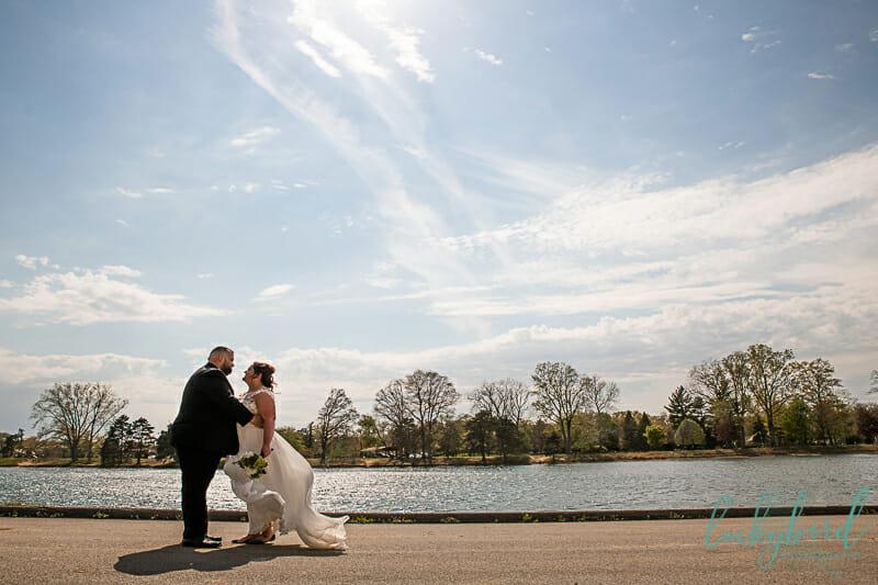 bride and groom wedding photos at olander park