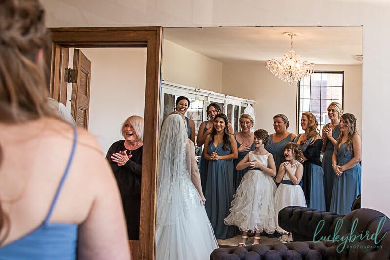 bridesmaids dresses hanging at nazareth hall