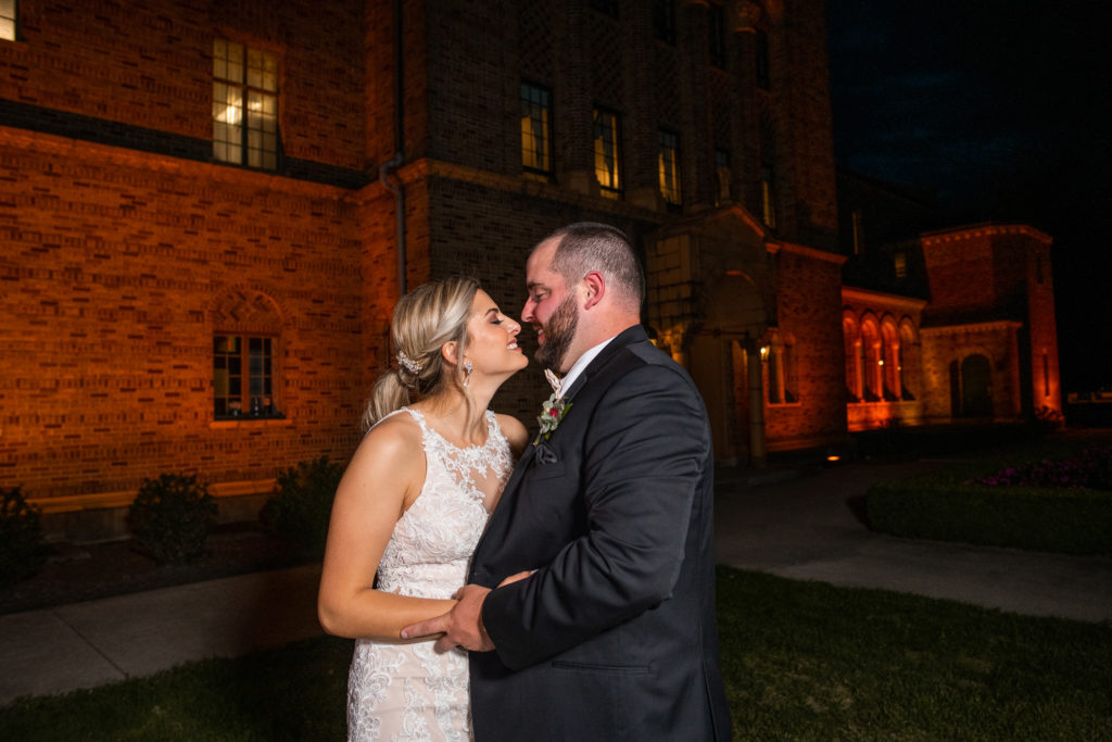 nazareth hall wedding photos at night