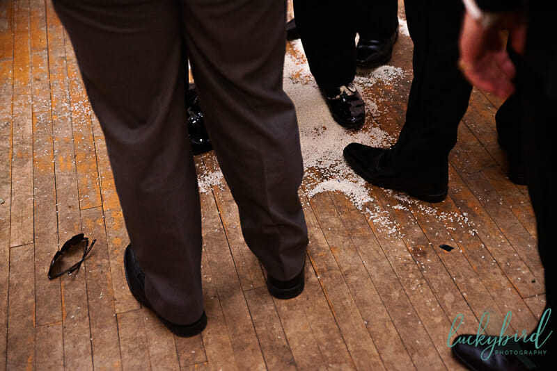 rice on the dance floor after groom tradition