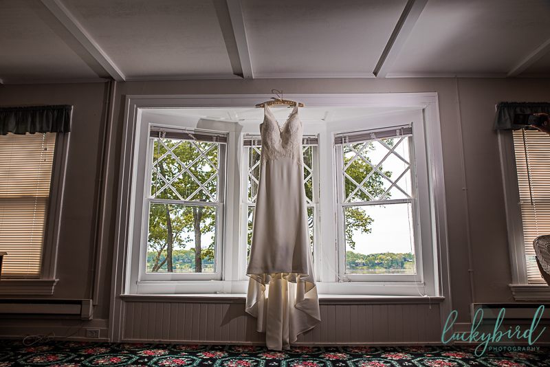 wedding dress hanging at toledo country club