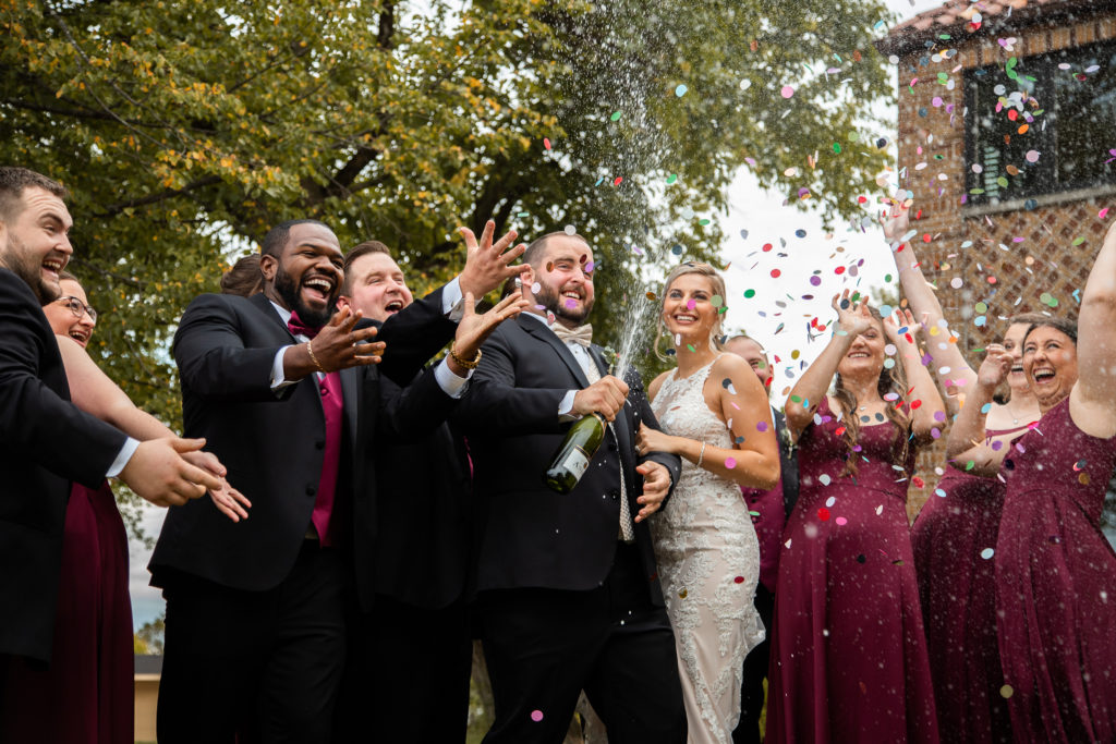 confetti champagne photos at nazareth hall by toledo wedding photographer luckybird photography