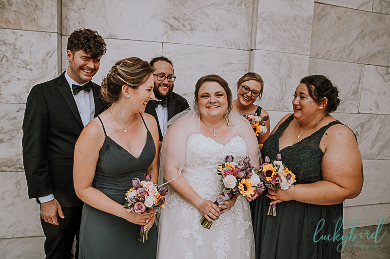 bride and wedding party at toledo museum of art