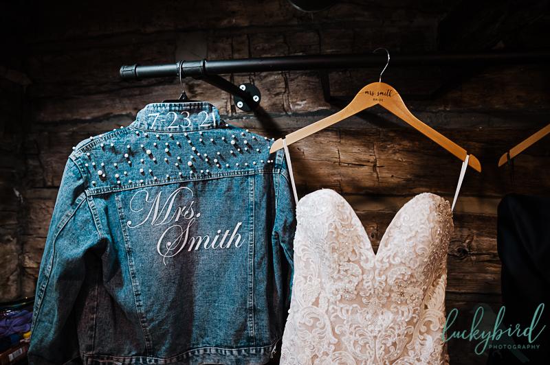 brides dress with jean jacket