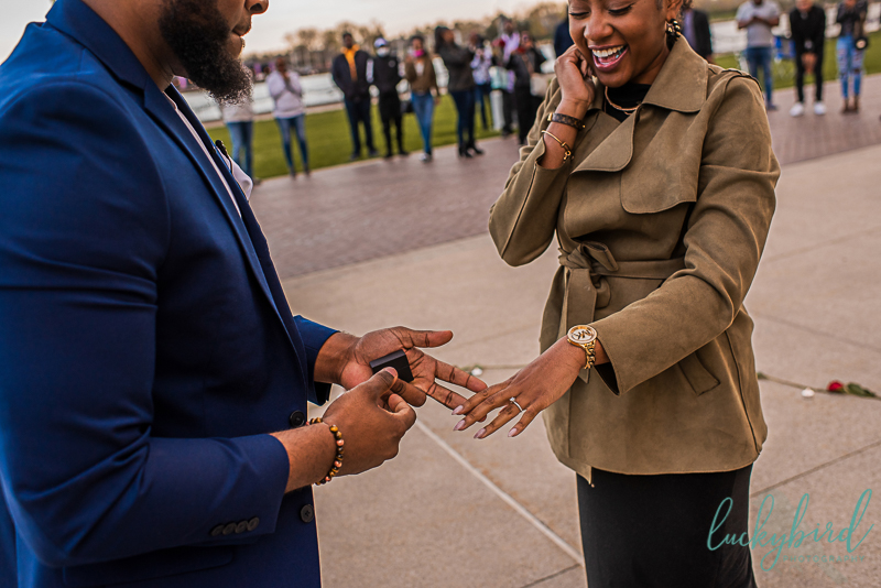 engagement photo during proposal at promenade park