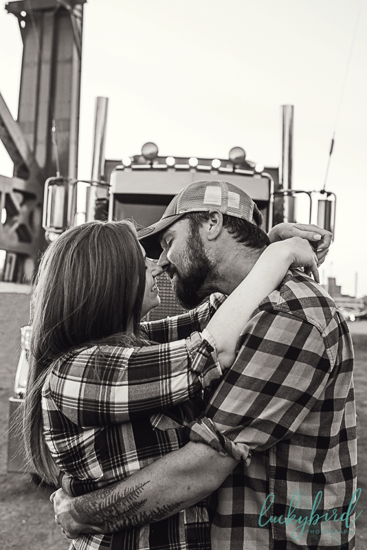 engagement photos with semi truck