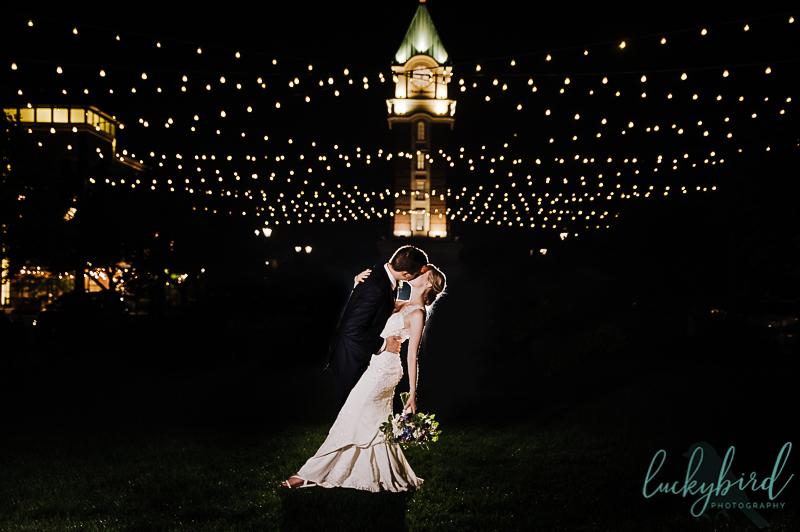 hilton garden inn levis clock tower wedding photo