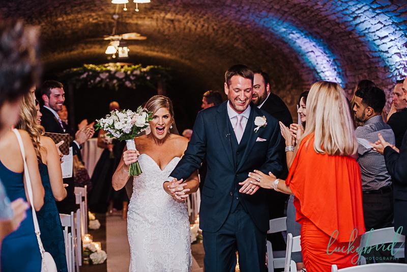 just married at gideon owen wine cellar wedding ceremony