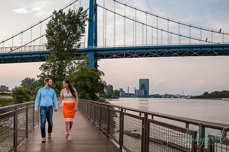 middlegrounds engagement photos with bridge