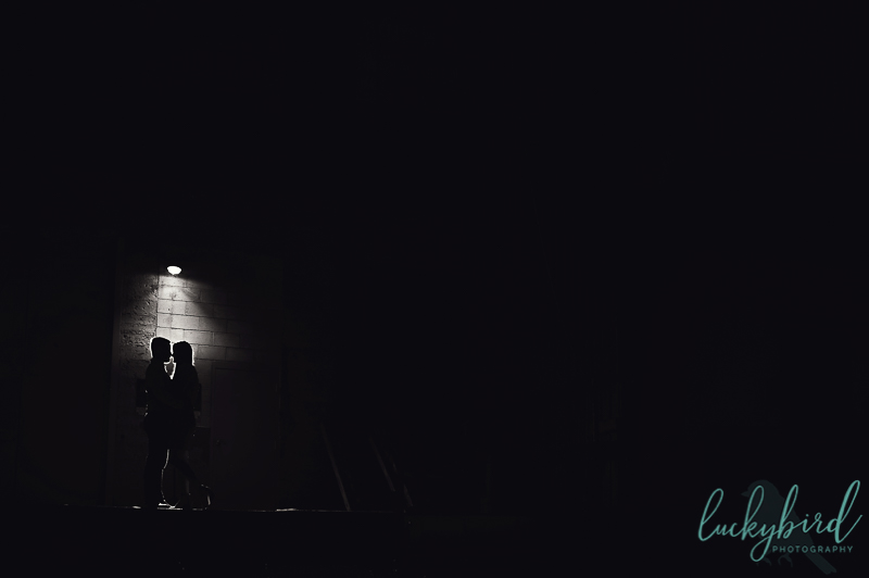 night engagement photos in downtown toledo