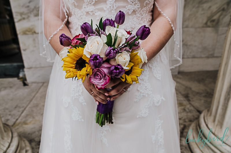 summer wedding bouquet in toledo with sunflowers and tulips
